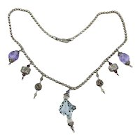 Sterling Silver - Crystal Glass Charms Rebel Necklace