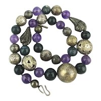Sultry Bead Necklace - Sterling Silver Amethyst Mystery Stones
