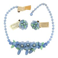 W. Germany Blue Green Glass Cluster Necklace Earrings Set