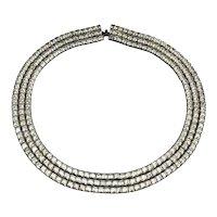 Les Bernard Ring of Rhinestones Necklace - 3 Rows on Black Collar