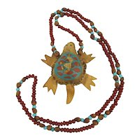 Native American Navajo Painted Hide Turtle Rattle Bead Necklace