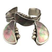 Modernist Sterling Silver Cuff Bracelet w/ Earrings - Abalone Inlay