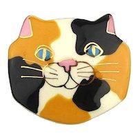 Big Fat Calico Cat Face Pin Brooch Enameled Ceramic Head