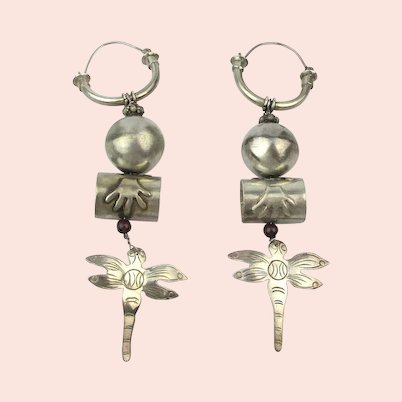 Quirky Sterling Silver Dangle Earrings