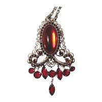 Vintage HOBE Red Rhinestone Dangles Pin / Pendant Necklace