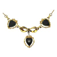 1920s Gold-Filled Necklace w/ Black Glass Hearts