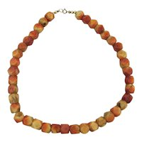 Apple Coral Bead Necklace Facet Cut Beads