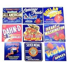 9 Original Fruit Crate Labels Colorful Litho Graphics
