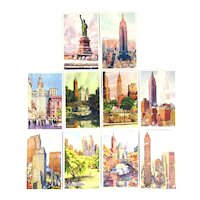 Set of 10 New York City Postcards Water Color Art c. 1938 Buildings