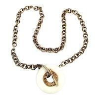 Vintage VANTO Gold on Sterling Silver Necklace Enamel Donut