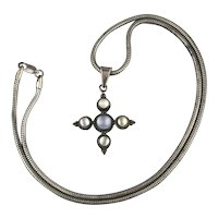 Sterling Silver Moonstone Maltese Cross Necklace Signed
