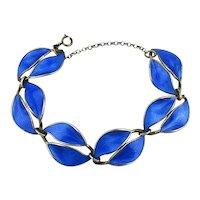 Vintage David Andersen Sterling Silver Blue Enamel Double Leaf Bracelet Gold Vermeil