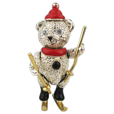 Vintage Napier Articulated Skiing Bear Brooch Pin
