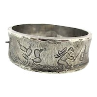 Vintage Mexican Sterling Silver Story Bracelet Hinged
