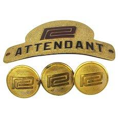 Vintage Penn Central Railroad Cap Hat Badge - Uniform Buttons Set
