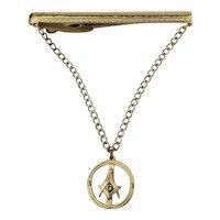 Masonic Hickok Tie Clasp w/ Chain Mason Symbol