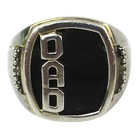 Give Dad This Great ~ DAD ~ Ring - Sterling Silver Onyx