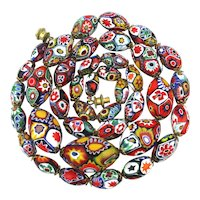Colorful Italian Millefiori Bead Necklace Mosaic Art Glass Marvel