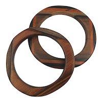 Pair Vintage Handcrafted Parquet Wood Bangle Bracelets