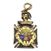 Antique FCB Gilded Enamel Medallion Pendant Knights of Pythias