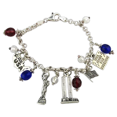 Vintage Sterling Silver NYC USA Charm Bracelet Liberty Twin Towers