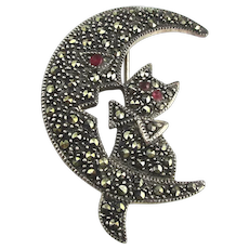 Sterling Silver Marcasite Moon Face Tells Cat to Scat Pin Brooch
