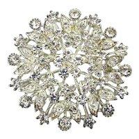 Big Icy Crystal Rhinestone Pin Brooch