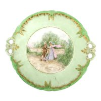 Victorian Hand Painted Porcelain Plate - Romance - Signed - Handles