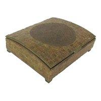 Mid-Century MEXICAN Brass Wood Stone Box Aztec Calendar Lid
