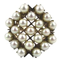 Gorgeous 10K Gold Ring w/ 21 Pearl Salute