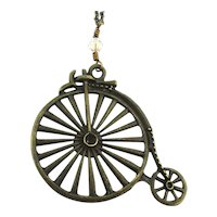 Vintage High Wheeler Bicycle Pendant Necklace