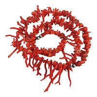 Rough Raw Raggedy Red Real Branch Coral Necklace