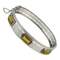Sleek Art Deco R & G Co. Rhodium Plated Bracelet w/ Stones