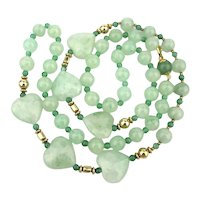 Long Jade Green Aventurine Bead Necklace w/ HEARTS