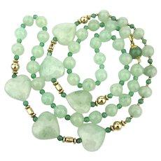 Long Jade Green Aventurine Bead Necklace w/ HEARTS