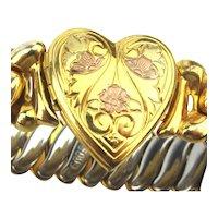 1940s Sweetheart HEART Stretch Bracelet - Locket
