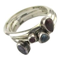Mini Sterling Silver Gemstone Ring Stack Size 6.5