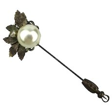 Vintage Miriam Haskell Faux Pearl Floral Stickpin Stick Pin