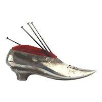 Miniature Sterling Silver SHOE Pin Cushion - Victorian Slipper