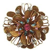 Nice Art Deco Era Gilded Rhinestone Flower Pin Brooch Pendant
