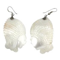 Carved Mother-of-Pearl Earrings Head w/ Weird Hat or Hairdo