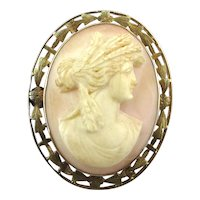 Antique 10K Gold Pink Conch Shell Cameo Pin Pendant Victorian
