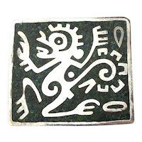 Big 925 Taxco OZOMATL Dancing Monkey Inlaid Pin Pendant