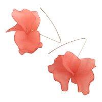 Peachy Pink Resin Flower Earrings