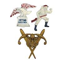 Historic WWII Plastic Souvenir Pins w / Provenance ~ Defend America ~ Soldier