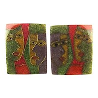 Modernist Abstract Laminated FACES Earrings