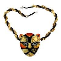 Bold Lee Sands Inlaid Apple Coral Lucite Tiger Burglar Cat Necklace