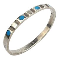 Taxco Sterling Silver Hinge Bracelet w/ Turquoise Dots