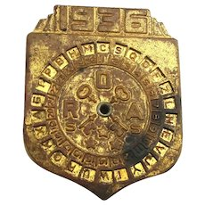 1936 Radio Orphan Annie ROA Secret Code Premium Decoder Pin