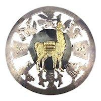 Peruvian Sterling Silver 18K Gold Pin Brooch Pendant
